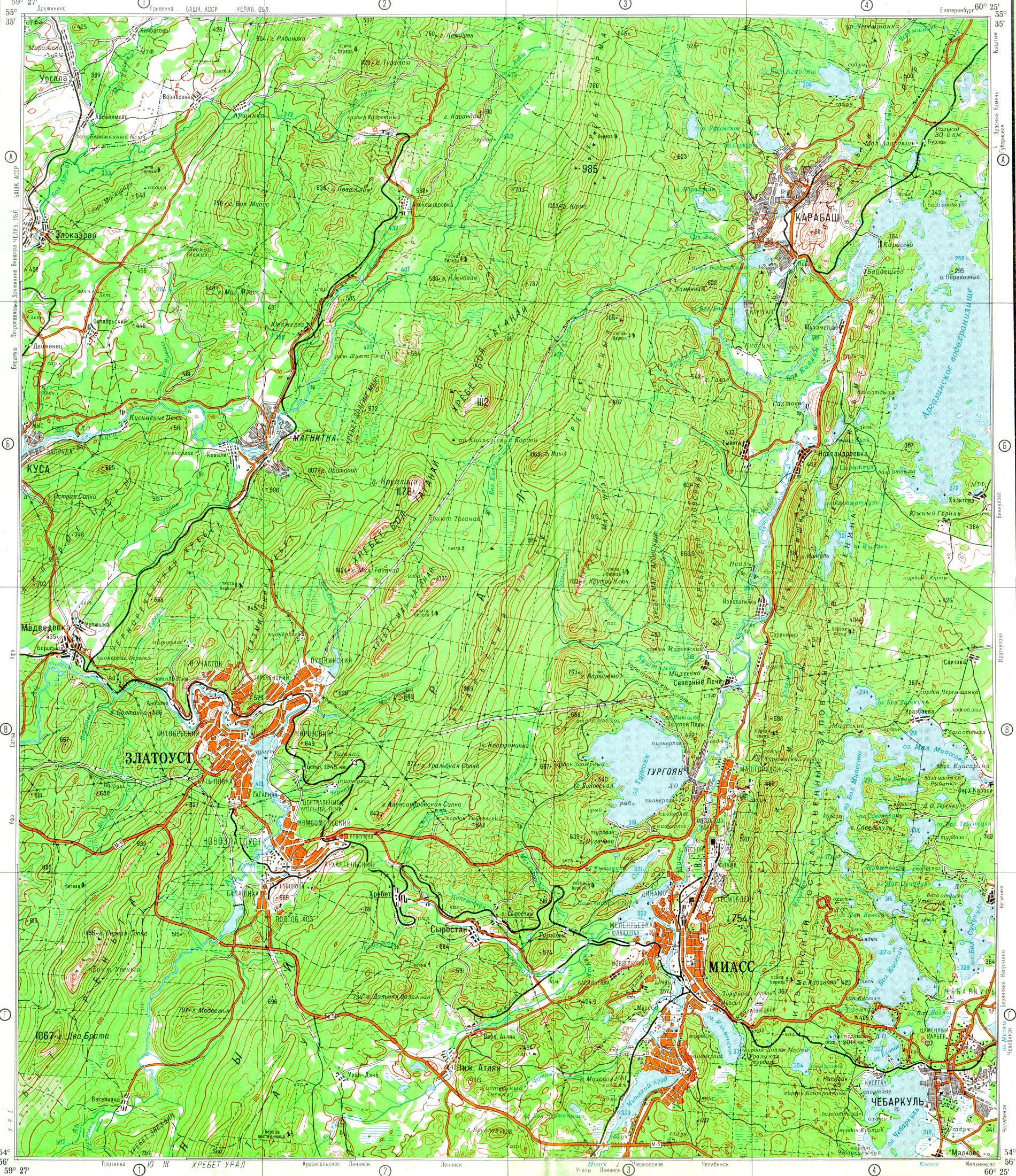 Карта окрестностей златоуста 1 5m